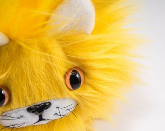 Catball -- furry cat handmade stuffed animal -- custom plush in sunny yellow faux fur
