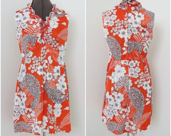 Vintage 1970s Orange Hawaiian Floral Sleeveless Nylon Mini Dress - Womens Bust 36 Waist 30