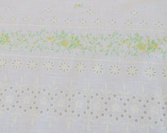 Vintage Border Print Fabric - White Faux Eyelet Floral - 4 Pieces with a total of 5 3/4 yards