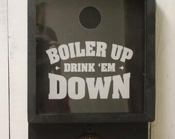 Boiler Up/Drink Em Down/Bottle Cap Holder/Bottle Opener/Beer Decor/Bar Decor/Christmas Gift/Male Gift/Engraved/Fast Shipping
