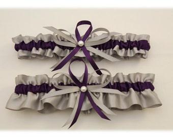 Silver and Plum Wedding Garter Set-Prom Garter (Your Choice, Single or Set)