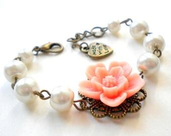 Flower Girl Jewelry Peach Bracelet Flower Girl Gift Pearl and Flower Bracelet Children Wedding Jewelry Flower Girl Bracelet