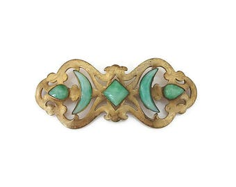 Victorian E. A. Bliss Co Gold Tone Jade Glass Brooch - Sash Pin, Antique Brooch, Victorian Brooch, Napier Jewelry, Antique Jewelry