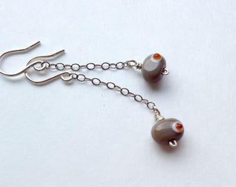 Lampworked Glass Bead Earrings - Petite Bean Dangle + Antiqued Sterling Silver