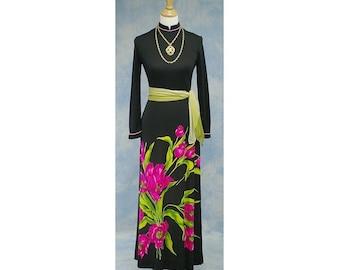 Vintage 70s Designer Mr. Dino Floral Print Jersey Knit Maxi Dress, Sz Small, Med, 6, 8