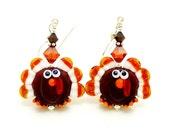Turkey Earrings, Thanksgiving Earrings, Fall Earrings, Autumn Earrings, Lampwork Earrings, Beadwork Earrings, Thanksgiving Turkey Earrings