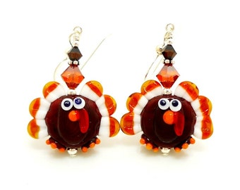 Turkey Earrings, Thanksgiving Earrings, Fall Earrings, Autumn Earrings, Lampwork Earrings, Thanksgiving Jewelry, Thanksgiving Turkey Earring