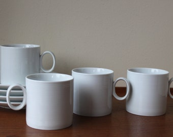 Vintage Thomas Germany Medaillon White Cup and Saucer Set x 4, Modernist, Minimalist