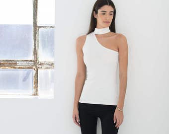 NEW Party Top / Sleeveless Top / Choker Top / Black Casual Top / Cocktail Top / Cool Top / Cut Out Top / Marcellamoda - MB843