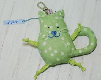 Green Cat Key Ring Small Pendant Key Chain Toy Handmade Soft Gift Christmas Holidays