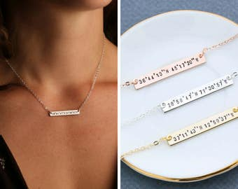 FREE SHIP • Coordinate Necklace • Best Friend Gift Custom Coordinate Jewelry • Latitude Longitude Necklace Stamped Coordinate Bar Necklace