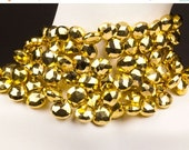 ON SALE Golden Pyrite Beads Briolettes Faceted Heart Shaped Briolettes Coated Briolettes Faceted Earth Mined Gemstone  - 11 Briolettes - 8x8