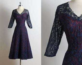 Vintage 40s Dress | vintage 1940s dress | midnight blue lace illusion | xl xxl