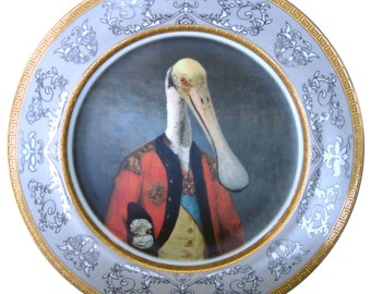 """Lieutenant Bill Ajaja - Altered Vintage Plate 10.75"""""""