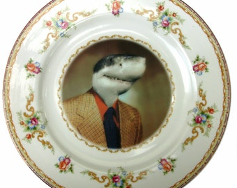 Shane the Shark - Altered Vintage plate 10.25""