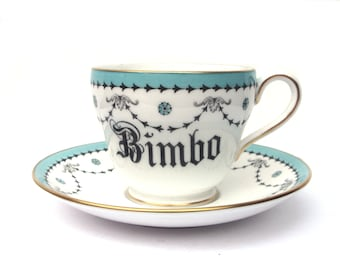 Bimbo Altered Vintage Teacup and Saucer