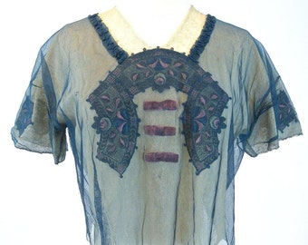 Antique Edwardian Top, 1910s 20s Embroidered Net and Lace Blouse, 1920s Top, Antique Blouse