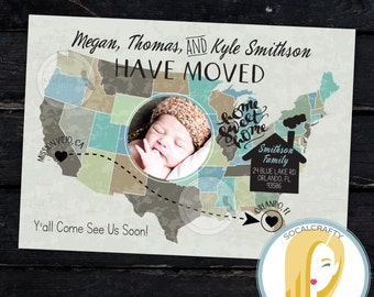 Map Moving Announcement Map Photo Card We Ve Moved New Home