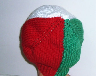 Italy, italian flag hat italy gift for Man Hat in Green Red White hand knit hat winter hat beanie