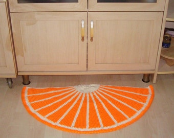 Orange Decor Door Mat Half Round Rug Orange Rug Hand Knit Rug kitchen mat, kitchen rug, half moon rug, mat doormat orange gifts fruit decor