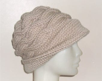 Hand Knitted Hats for Women's Gift|for|Her Beige Hat Womens Winter hat Wide Brim Hat Winter Accessories Womens Hats Winter Hat accessories