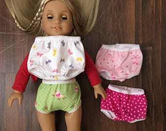 """Four Whimsical Knit Panties for 18"""" American Girl Doll, Underwear"""