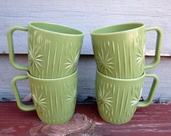 4 Avocado Green Vintage Molded Plastic Mugs