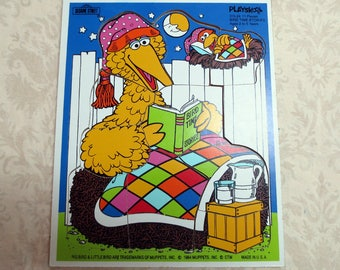 1980s Big Bird, Sesame Street, Muppets, Vintage Wood Playskool Puzzle, Bird Time Stories