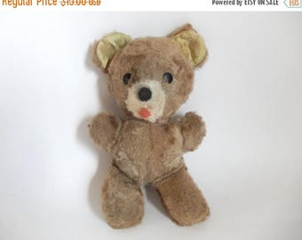 "Mid Century Brown Teddy Bear Stuffed Animal Toy - 9.5"" tall"