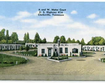 A and W Motor Court Motel US 41A Clarksville Tennessee linen postcard