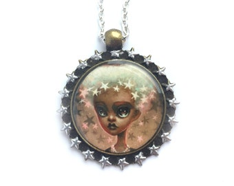 Star Girl - special edition Dcon printed cameo necklace by Mab Graves