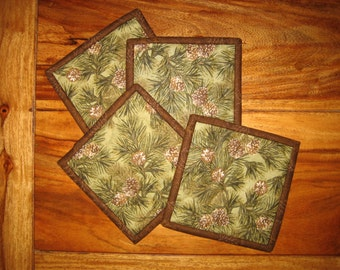 "Fabric Coasters, Mountain Pine Cones, 5 x 5"", Quilted, 100% cotton fabrics"