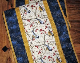 """Mountain Chickadees Table Runner, Quilted, 13 x 48"""", Reversible, 100% cotton fabrics"""