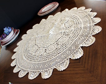 Circular Tablecloth, Hand Crochet Table Cloth, Cotton Light Ecru Shade 13783