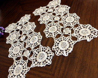 2 Short Table Runners, Centerpieces or Doilies, Matching Crochet Doilies 13793
