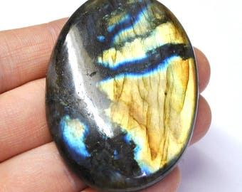 Multicolor Labradorite Oval Cabochon Natural Gemstone Flat Back Jewelry Supply - 59.0 x 42.3 x 8.2 mm - 179.3 ct - 170220-12