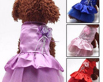 Pet Dog Tutu Lace Dress Wedding Gown Princess Party Costume