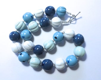 Blue and White Beaded Necklace, Statement Necklace, Kazuri Bead Necklace, Fair Trade