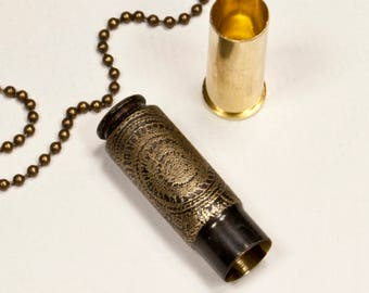 "Time capsule necklace - ""Nautilus"" etched bullet casing pendant - bullet jewelry"