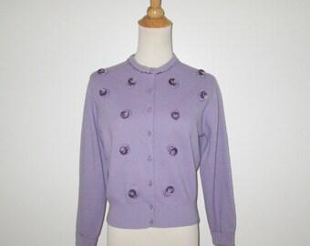 Vintage 1950s Sweater / 50s Lavender Purple Embellished Sweater / 50s Lavender Purple Cardigan Sweater By Jernat Wonderfur - M