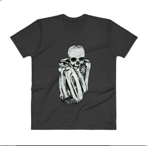 Comfy Skeleton Unisex V neck tee shirt