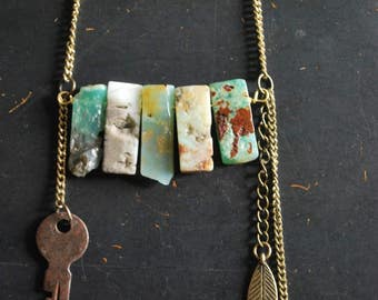 Raw Chrysoprase Bar with Talisman Necklace - FREE Shipping - OOAK