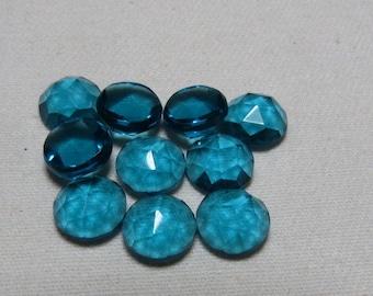 London Blue Topaz Color - QUARTZ - Men Made Stone  - So Gorgeous Nice Color Super Sparkle Rose Cut Cabochon  size 9x9 mm - 10 pcs
