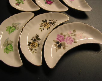 Bone Dishes , repo of vintage , 1989, CM Inc. Chadwick Japan, beautiful rose patterns  shabby chick.