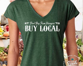 Buy Local Ladies' Triblend V-Neck T-Shirt- shop local, shop small, farmer's market shirt women's v-neck