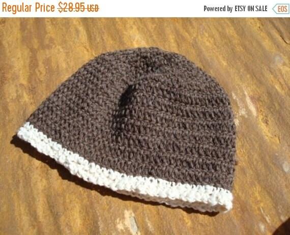 HOLIDAY SALE Warm Undyed Wool Women's or Men's Winter Crocheted Beanie Hat - Maple 118B
