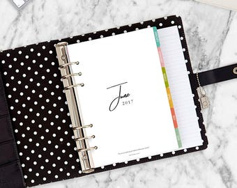 DOWNLOAD 2017 Monthly Planner Dividers Agenda A5