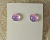 Dichroic Glass Earrings Pink Candy  DGE-950