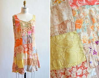 Vintage 1980s embroidered PATCHWORK mini dress