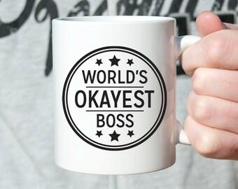 Boss Gift for Boss Christmas Gift for Boss Worlds Okayest Boss Gifts Coworker Gift for Coworker Boss Mug Boss Coffee Mug Funny Mug Stars